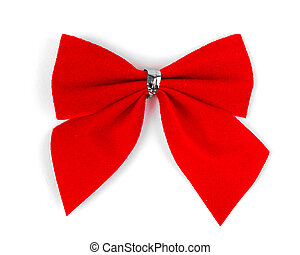 Beautiful red satin gift bow,
