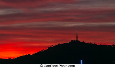 beautiful red sky with clouds after sunset timelapse in Barcelona, Spain