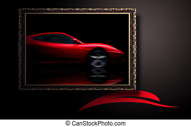 Beautiful red sport car in classic frame on dark background