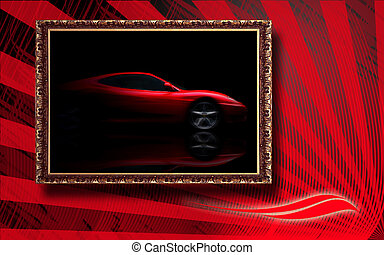 Beautiful red sport car in classic frame on red abstract...
