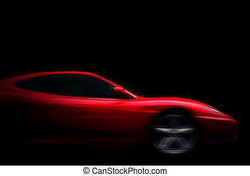 Beautiful red sport car on black