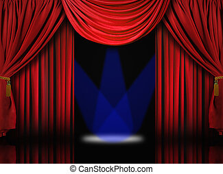 Velvet Theater Stage Drape Curtains With Blue Spotlights -...