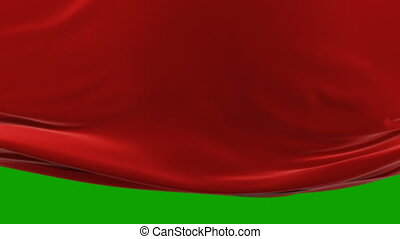 Beautiful Red Waving Cloth Moving Up Opening the Background. Abstract 3d Animation with Alpha Matte. Wavy Silk Fabric Surface Motion Revealing Screen. 4k Ultra HD