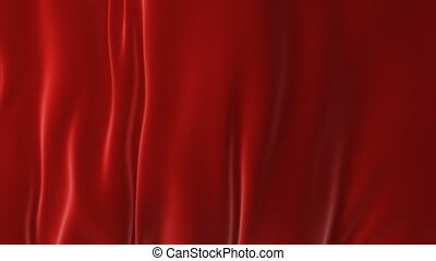 Beautiful Red Waving Curtain Blown Away by Wind, Opening Background. Looped 3d Animation with Alpha Matte. Abstract Wavy Silk Cloth Surface Motion Revealing Screen. 4k Ultra HD