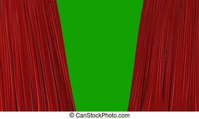 Beautiful Red Waving Curtains Opening and Closing on Green Screen. Abstract 3d Animation of Silk Cloth Revealing Background with Alpha Matte. 4k Ultra HD