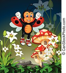 Beautiful Red Wings Ladybug Flying On Top of White Ivy Flowers Cartoon