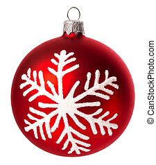 beautiful red with snowflake christmas ball isolated on white background