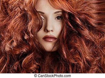 Beautiful redhair woman close-up portrait