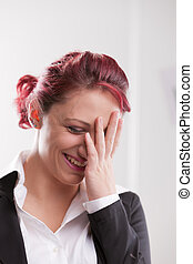 beautiful redhaired office girl worker smiling