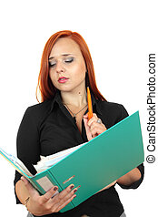 business woman with binder
