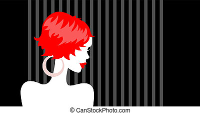 Beautiful Redhead Girl. Vector illustration with sample text