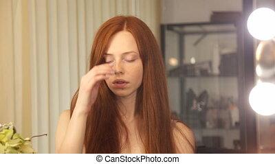 Beautiful redhead girl face - beautiful redhead girl face...