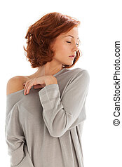 beautiful redhead isolated on white