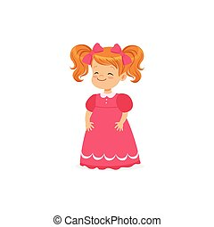 Beautiful redhead little girl posing in pink dress, young lady dressed up in classic retro style vector Illustration