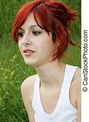Beautiful redhead outdoor