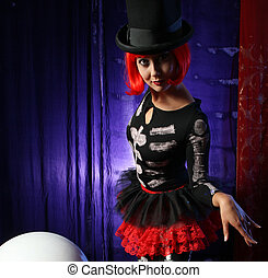 Beautiful redhead performer