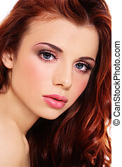 Beautiful redhead - Portrait of young fresh beautiful girl...