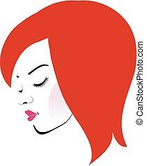 Beautiful redhead wearing a red lipstick