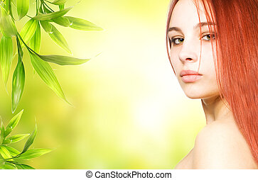 Beautiful redhead woman close-up potrait
