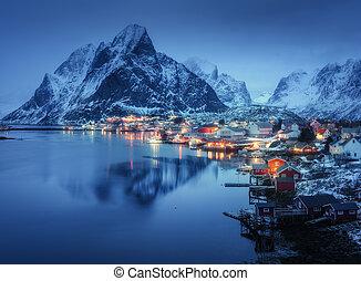 Reine in at night, Lofoten islands, Norway. Winter