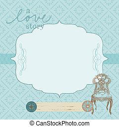 Beautiful Retro Card with photo frame- for invitation, greetings, congratulation, wedding