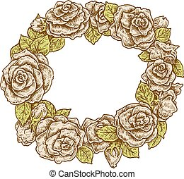 Beautiful retro colors hand drawn vintage style round floral...