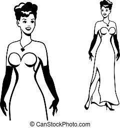 Beautiful retro girl in pop art style.