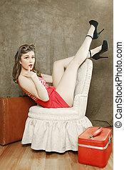 Beautiful Retro Pinup Girl in Sexy Pose