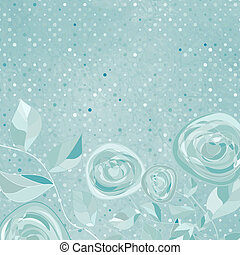 Beautiful retro rose pattern with blue polka dot background. And also includes EPS 8 vector