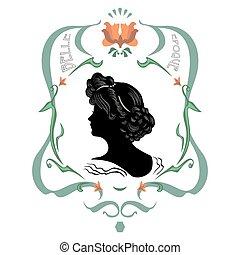 Beautiful retro style label - Portrait of woman in retro...