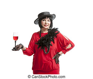 beautiful retro woman drinking wine