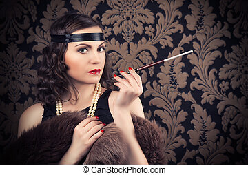 beautiful retro woman holding mouthpiece against vintage ...