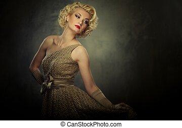 Beautiful retro woman on grey background