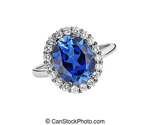 beautiful ring with blue gem (stone) isolated on white background