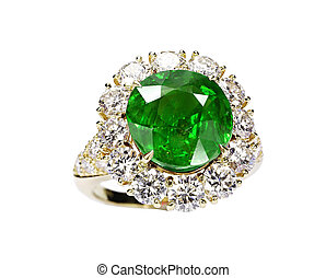 beautiful ring with green gem isolated on white