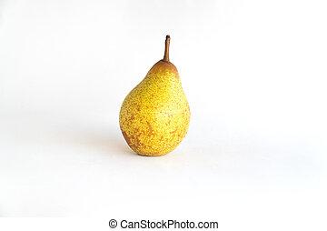 Beautiful ripe yellow pear on white background