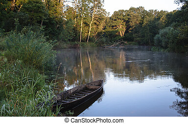 Beautiful river and old rowing boat in green grass