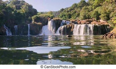 beautiful river cascade waterfall in mountains