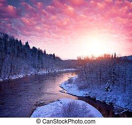 Beautiful river in winter landscape.