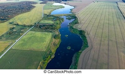beautiful river landscape. Aerial view - beautiful summer...
