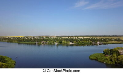 Beautiful River Landscape Aerial View Of Small Village,...