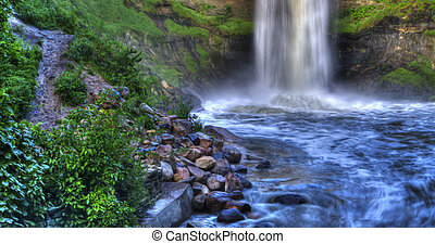 Beautiful River Waterfall in HDR High Dynamic Range - River...