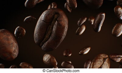 Beautiful Roasted Coffee Beans Falling Down Close-up in Slow Motion Seamless CG on Brown Background. Looped 3d Animation with DOF Blur. 4k Ultra HD 3840x2160.