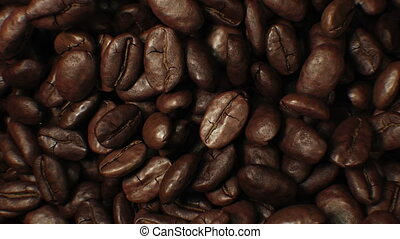 Beautiful Roasted Coffee Beans Moving in Vortex Close-up Slow Motion CG Background. Abstract 3d Animation of Realistic Coffee Beans Rotation. Food and Drinks Concept. 4k Ultra HD 3840x2160