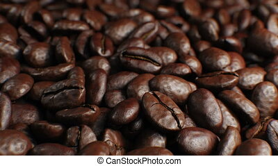 Beautiful Roasted Coffee Beans Seamless Turntable Rotation Close-up Slow Motion CG Background. Looped Abstract 3d Animation of Realistic Coffee Beans on Table. 4k Ultra HD 3840x2160