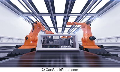 Beautiful Robotic Arms Assembling Computer Cases On Conveyor...