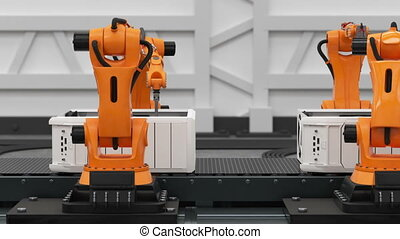 Beautiful Robotic Arms Assembling Computers On Conveyor Belt. Advanced Automated Process. 3d Animation. Business and Technology Concept. Full HD 1920x1080.