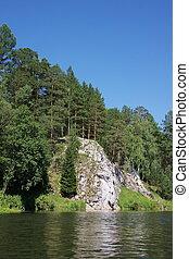 beautiful rock in the river Chusovaya in the Perm region, ...