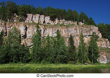 beautiful rock in the river Chusovaya in the Perm region
