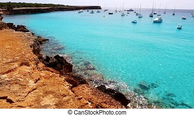 beautiful rocky beach in ibiza